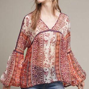 Anthropologie Maevo Sheer Silk Blouse